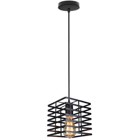 Lámpara colgante estilo industrial vintage forma jaula hierro 22cm E27 (Negro)para dormitorio salón comedor cocina, barra