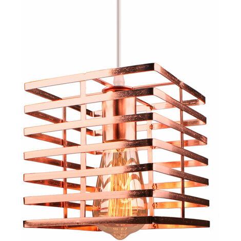Lámpara colgante estilo industrial vintage forma jaula hierro Ø 22cm E27 (Negro)para dormitorio salón comedor cocina, barra (Oro rosa)