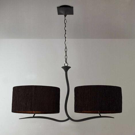 Lámpara colgante Eve 2 Arm 4 bombillas E27, antracita con pantalla ovalada negra