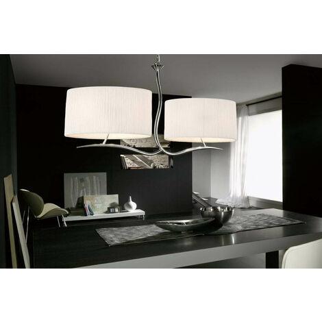 Lámpara colgante Eve 2 Arm 4 Bombillas E27, cromo pulido con pantallas ovaladas blancas