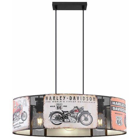 Lámpara colgante Focos de techo Comedor Motocicleta Chopper Diseño de letrero Lámpara colgante