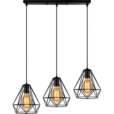 Lampara Colgante forma Diamantes Combinación Palo Largo Luz de Techo Diseño Jaula de Hierro Metal Ø20cm 3Headlights Para Cocina Sala Pasillo Comedor Bar (Negro)