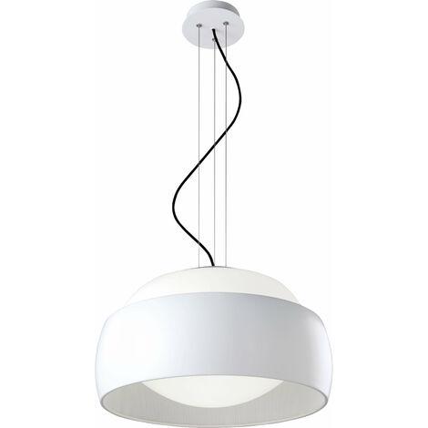 Lámpara colgante globos, acero textil y vidrio, blanco mate