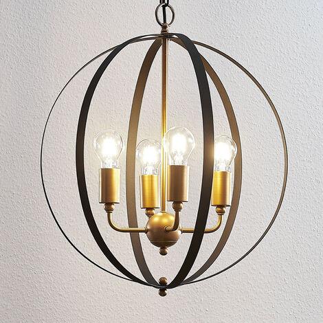 Lámpara colgante Hamish pantalla jaula oro negro