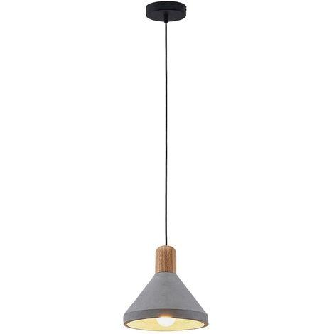 Lámpara colgante hormigón Caisy madera, redonda