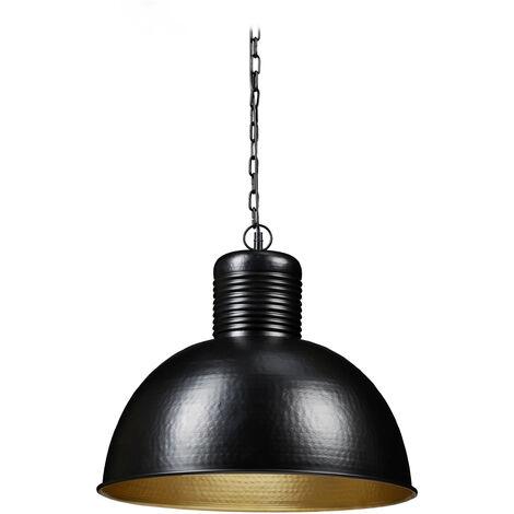 Lámpara colgante, Iluminación de techo, Grande, Industrial, E27, 40W, 157x49 cm, 1 Ud., Negro/Dorado