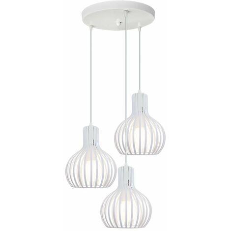 Lámpara Colgante Industrial Blanco Altura Ajustable 3 Luces Lámpara de Techo Antigua Retro E27 Luz Colgante Creativa
