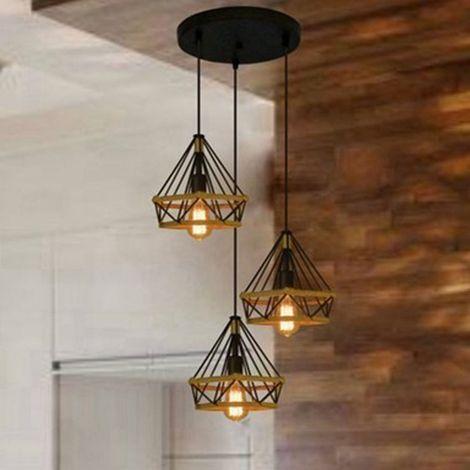 Lámpara colgante industrial de 25 cm en forma de diamante 3 cabeza E27 Luminaria Cuerda de cáñamo ajustable para comedor, bar, dormitorio