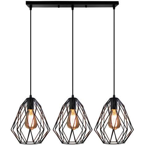Lámpara Colgante Industrial de Diamantes 3 Luces Lámpara de Techo Vintage Lámpara de Jaula de Metal para Dormitorio Interior Cafe Bar Negro