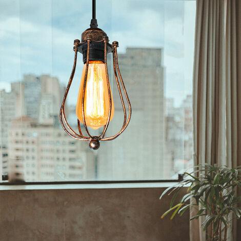 Lámpara Colgante Industrial de Jaula de Hierro Retro Raya forma Melón Moderno Luz de Techo Metal Creativo Diseño Vintage Decoracion de Cafe Comedor Restaurante Pasillo