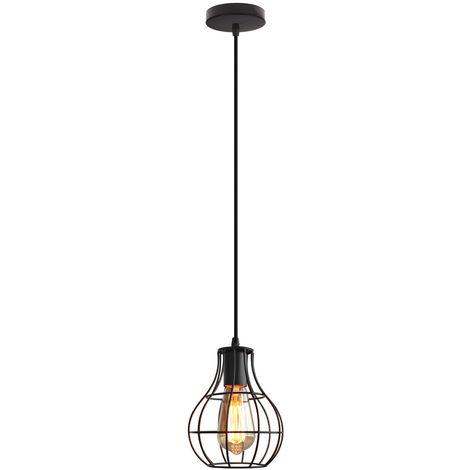 Lámpara Colgante Industrial de Metal de la Lámpara Redonda de la Jaula de la Lámpara de la Vendimia para el Comedor, Cocina, Negro E27