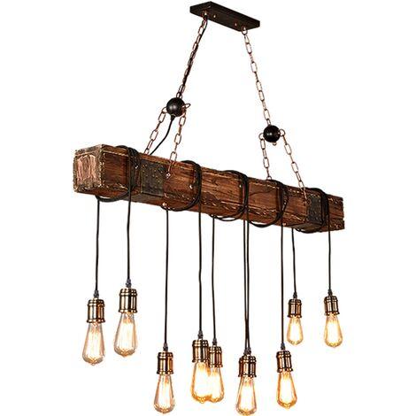 Lámpara colgante industrial E27 vintage de madera de 10 luces