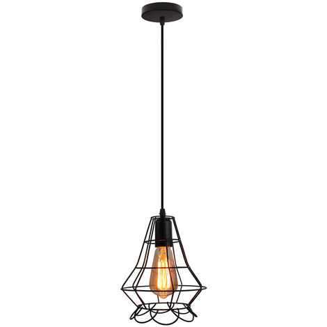 Lámpara colgante Industrial Lámpara Colgante Vintage para Loft Cafe Dining Decoración de Interiores Negro E27