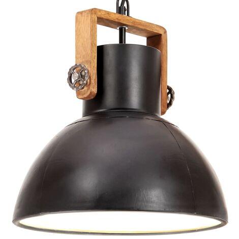 Lámpara colgante industrial redonda 25 W negro 30 cm E27