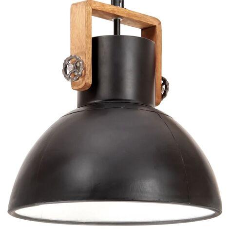 Lámpara colgante industrial redonda 25 W negro 40 cm E27