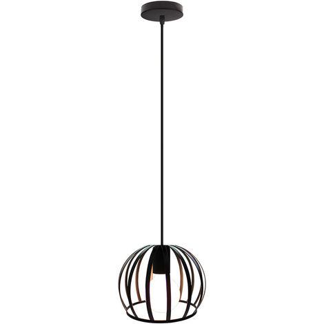 Lámpara Colgante Industrial Redonda Vintage Cable Lámpara de Techo Ajustable Luz Colgante de Hierro de Metal para Cocina Pasillo de la Casa Interior Negro
