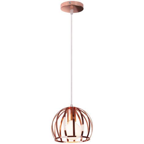 Lámpara Colgante Industrial Redonda Vintage Cable Lámpara de Techo Ajustable Luz Colgante de Hierro de Metal para Cocina Pasillo de la Casa Interior Oro Rosa