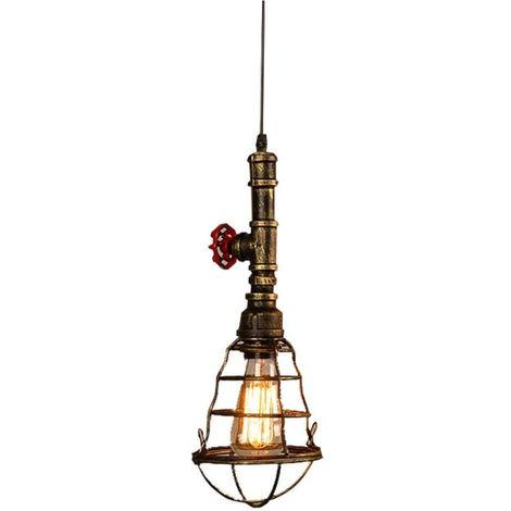 Lámpara Colgante Industrial Retro Araña de Altura Ajustable Lámpara de Techo Interior Jaula de Metal E27 para Comedores Oxidado