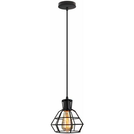 Lámpara colgante industrial retro Forma de sombra Jaula 18cm Estilo de metal Vintage E27 Negro