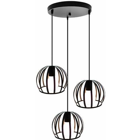 Lámpara Colgante Industrial Vintage de 3 Cabezas Cable Lámpara de Techo Ajustable Lámpara Colgante de Hierro Redondo de Metal para Cocina Pasillo Interior Negro
