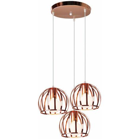 Lámpara Colgante Industrial Vintage de 3 Cabezas Cable Lámpara de Techo Ajustable Lámpara Colgante de Hierro Redondo de Metal para Cocina Pasillo Interior Oro Rosa