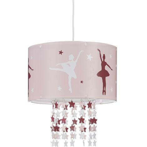 Lámpara Colgante Infantil, Motivo Bailarina, Estrellas Colgantes de Plástico, Rosa, Habitación de Niños, 30 cm