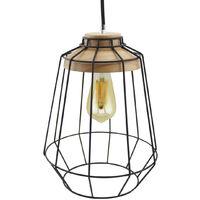 Lámpara colgante jaula con detalle en madera ø250x320mm. (GSC 0705241)