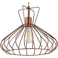 Lámpara colgante jaula cuero modelo Selma E27 380x1730mm. (Ledesma 10694)