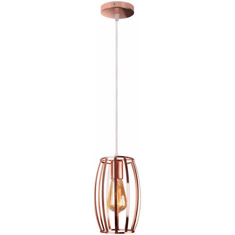 Lámpara Colgante Jaula de Hierro forma Oliva Tambor Creativo Moderno Metal Luz de Techo Industrial Simple Decoracion de Cocina Comedor Pasillo Restaurante (Oro rosa)