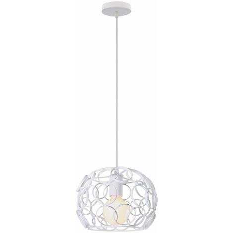 Lámpara Colgante Jaula Esférica de Hierro Metal Hueca Pelota Luz de Techo Creativo Nordico Moderno Iluminacion de Casa Cocina Pasillo Cafe (Blanco)