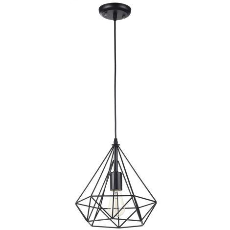 Lámpara colgante jaula negra modelo Quail E27 280x1730mm. (Ledesma 10686)