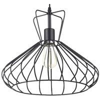 Lámpara colgante jaula negra modelo Selma E27 380x1500mm. (Ledesma 10693)