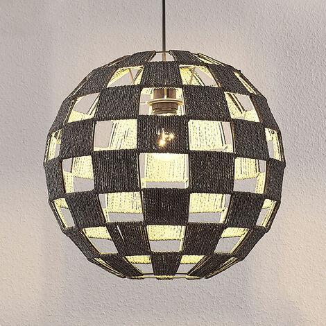 Lámpara colgante Jiliana gris, redonda, ajedrezado