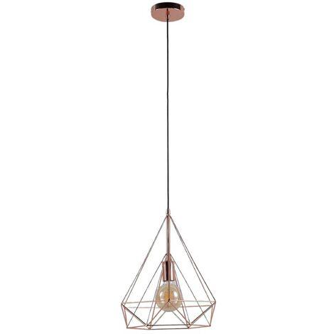 Lámpara colgante Jossa con forma de jaula, cobre