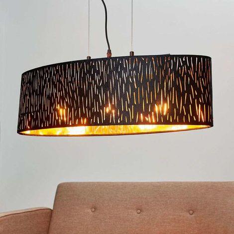 Lámpara colgante Jules en negro-oro, Ø 65x25cm