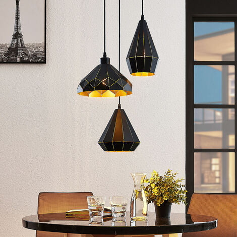 Lámpara colgante Kylian, 3 pantallas, negra-dorada
