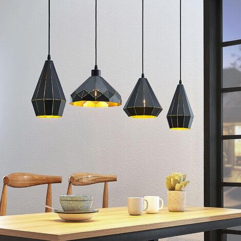 Lámpara colgante Kylian, 4 pantallas, negra-dorada