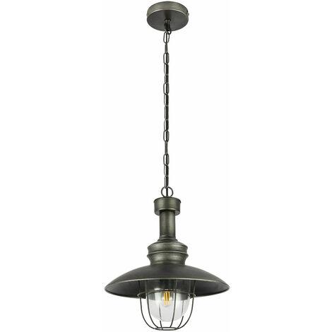 Lámpara colgante lámpara de comedor retro lámpara colgante de metal plateado, pantalla de celosía metálica con cristal, 1x E27, FxH 32x120 cm