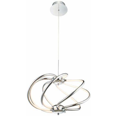 """main image of """"Lámpara colgante LED de techo, cromo, sala de estar, comedor, diseño de iluminación, lámpara colgante  Globo 67823-40H"""""""