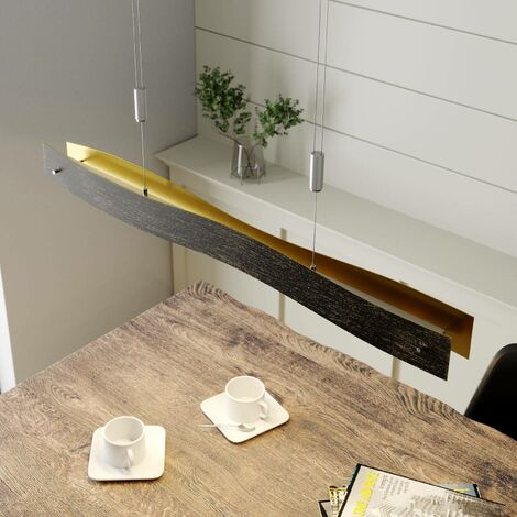 Lámpara colgante LED Ebu atenuable, negro-dorado