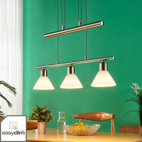 Lámpara colgante LED Eleasa, 3 luces, níquel