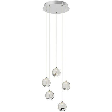 Lámpara colgante LED Hayley, 5 luces redonda cromo