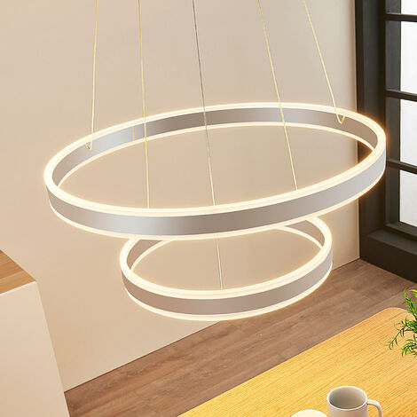 Lámpara colgante LED Lyani, 2 anillos, vertical