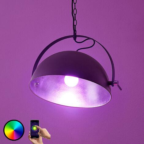 Lámpara colgante LED Muriel WiFi en negro/plateado
