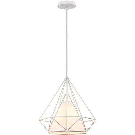 Lámpara Colgante Luz de Techo Diseño Moderno Industial Minimalismo Diamante Pirámide Cage Pájaro Jaula de Hierro Restaurante Bar Pasillo (Blanco)