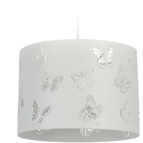 Lámpara colgante, Mariposas, Iluminación de techo, Un foco, Metal, E27, 35,5 cm, Blanco