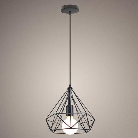 Lámpara colgante Moderna de Diamante de Jaula,Iluminación Suspensión de Hierro industrial luz Edison 25CM E27 Rústica para Hogar Cocina Loft Restaurante Cafetería (Negro)