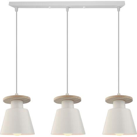 Lámpara Colgante Moderna Nórdica Araña de Madera Vintage Colgante de Luz de Cocina 3 Luces Luz Colgante Retro para Sala de Estar Blanco
