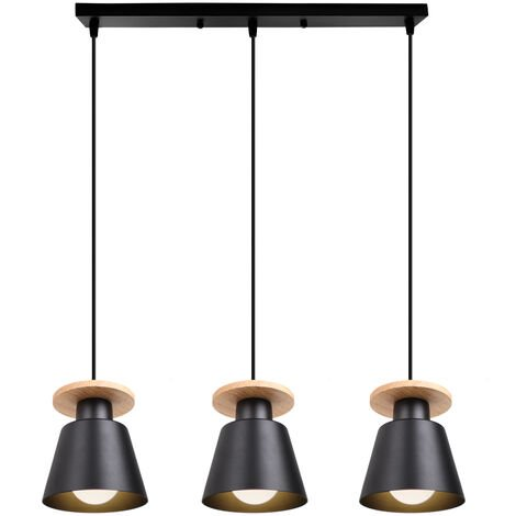 Lámpara Colgante Moderna Nórdica Araña de Madera Vintage Colgante de Luz de Cocina 3 Luces Luz Colgante Retro para Sala de Estar Negro
