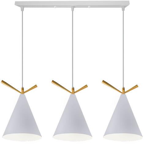 Lámpara Colgante Moderna Retro Blanca 3 Portalámparas Lámpara de Techo de Diseño Industrial Moderno E27 Pantalla de Metal
